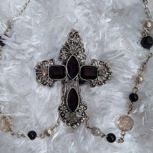 Jewelry - Black onyx look cross necklace